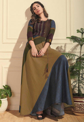 Woven Rayon Jacquard Gown in Multicolor