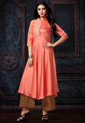 Woven Satin A Line Kurta in Orange