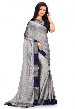 Woven Satin Chiffon Jacquard Saree in Grey