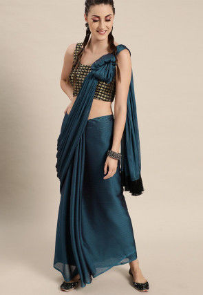 Woven Satin Georgette Saree in Teal Blue