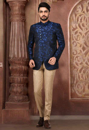 Woven Satin Silk Jacquard Suit Set in Navy Blue