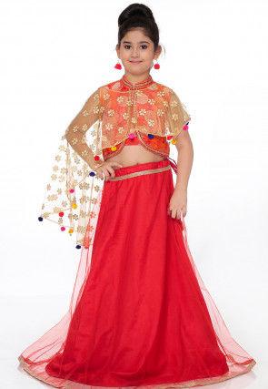 Woven Shimmer Net Lehenga in Red