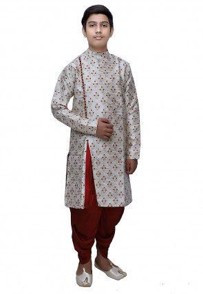 Woven Silk Jacquard Dhoti Sherwani in Off White