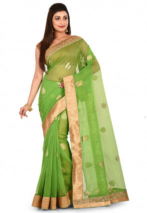 Woven Silk Net Saree in Green