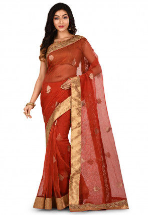 Woven Silk Net Saree in Red