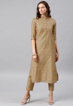 Woven Sleeve Chanderi Silk Straight Kurta in Beige