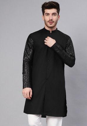 Woven Sleeve Cotton Kurta in Black