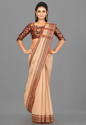 Woven South Cotton Saree in Beige