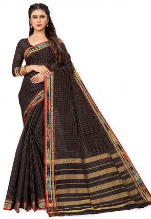Woven South Cotton Saree in Black