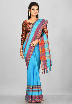 Woven South Cotton Saree in Blue