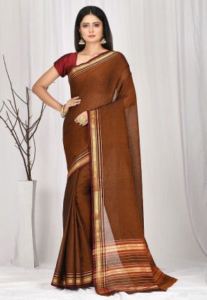 Woven South Cotton Saree in Brown