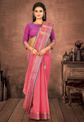 Woven South Cotton Saree in Coral Pink