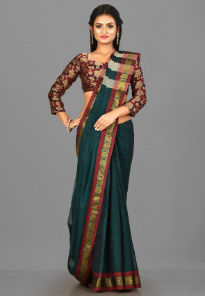 Woven South Cotton Saree in Dark Green
