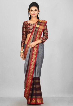 Woven South Cotton Saree in Grey