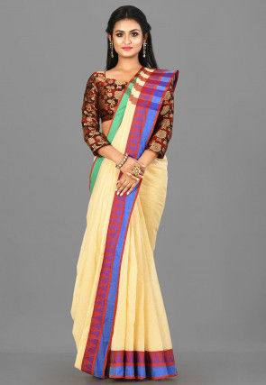 Woven South Cotton Saree in Light Beige