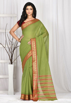 Woven South Cotton Saree in Light Green