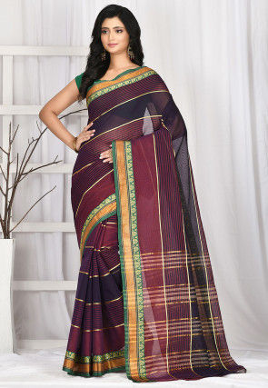 Woven South Cotton Saree in Maroon and Navy Blue