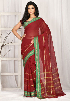Woven South Cotton Saree in Maroon