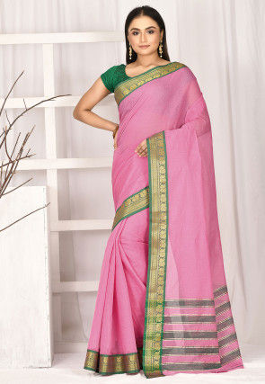Woven South Cotton Saree in Pink