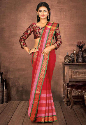 Woven South Cotton Saree in Red