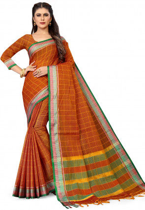 Woven South Cotton Saree in Rust