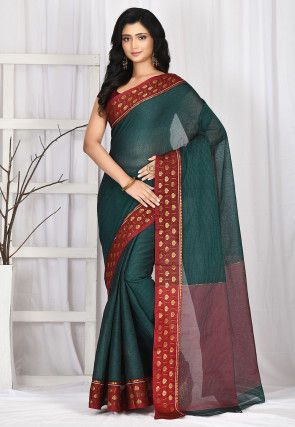 Woven South Cotton Saree in Teal Green