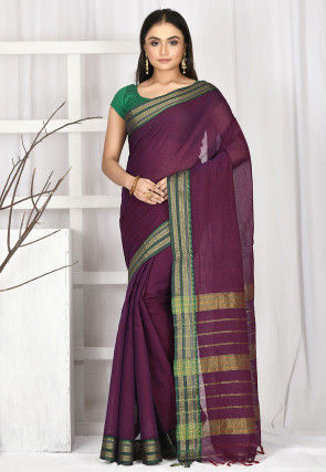 Woven South Cotton Saree in Violet