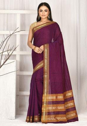 Woven South Cotton Saree in Wine