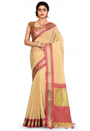 Woven South Cotton Silk Saree in Light Beige