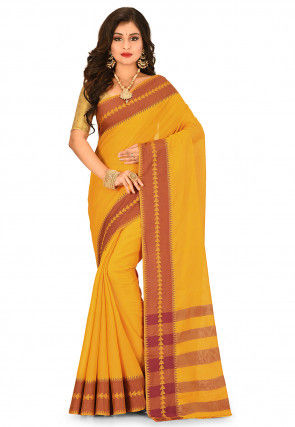 Woven South Cotton Silk Saree in Mustard