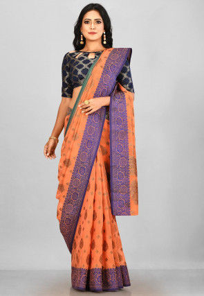Woven South Cotton Silk Saree in Orange