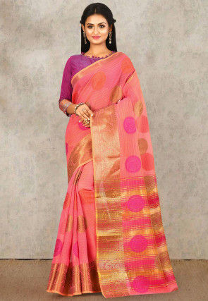 Woven South Cotton Silk Saree in Peach
