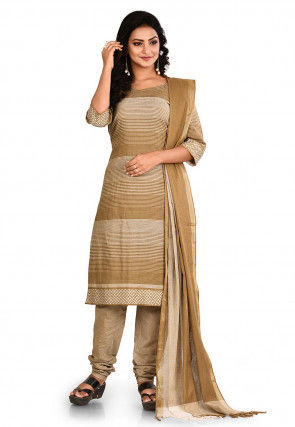 Woven South Cotton Straight Suit in Beige
