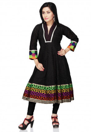 Woven Super Net Jacquard Anarkali Kurta in Black