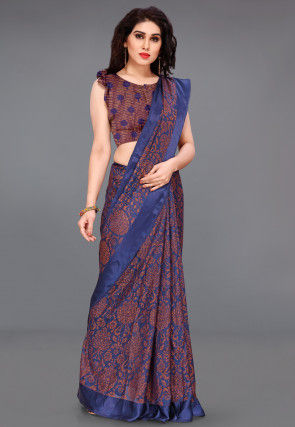 Woven Supernet Saree in Navy Blue