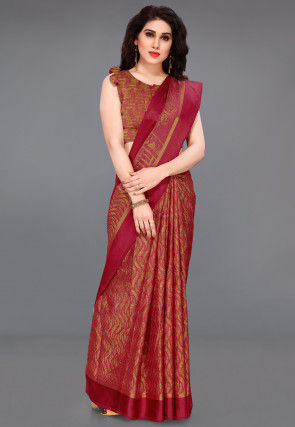 Woven Supernet Saree in Red