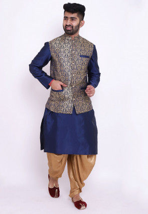 Woven Taffeta Silk Dhoti Kurta Set in Blue and Beige