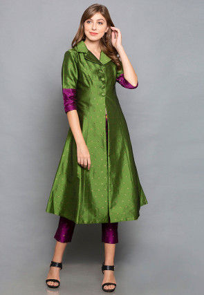 Woven Taffeta Silk Jacket in Green