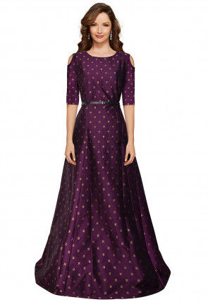Woven Taffeta Silk Jacquard Gown in Wine