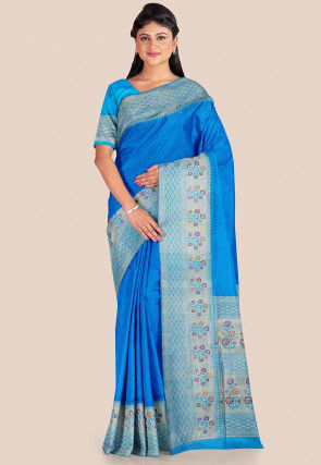 Woven Tanchoi Silk Saree in Blue