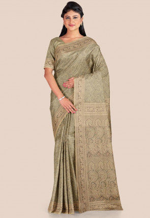 Woven Tanchoi Silk Saree in Dusty Green