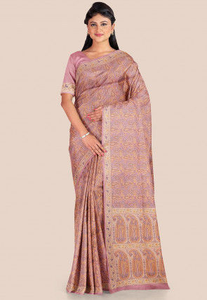 Woven Tanchoi Silk Saree in Dusty Pink