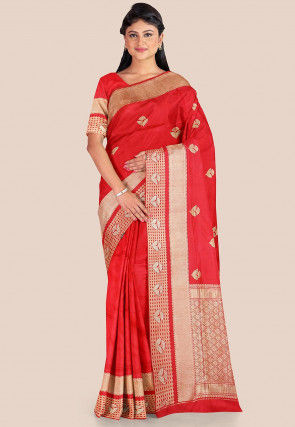Woven Tanchoi Silk Saree in Red
