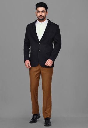 Woven Terry Rayon Jacquard Blazer with Pant in Black