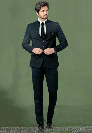 Woven Terry Rayon Jacquard Suit in Dark Teal Blue
