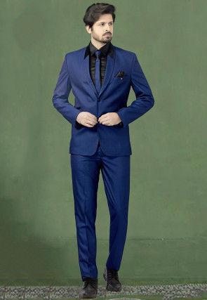 Woven Terry Rayon Jacquard Tuxedo in Royal Blue