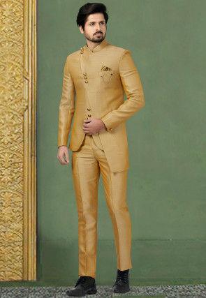 Woven Terry Rayon Jodhpuri Suit in Beige