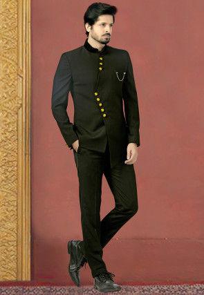 Woven Terry Rayon Jodhpuri Suit in Black