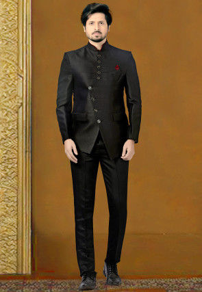 Woven Terry Rayon Jodhpuri Suit in Black