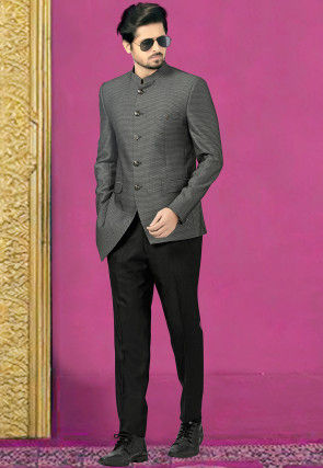 Woven Terry Rayon Jodhpuri Suit in Grey